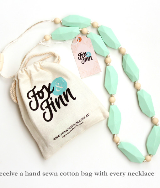 Fox and Finn Silicone Teething Necklace - Sophia (Mint)